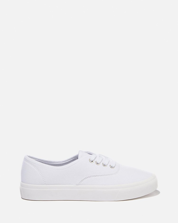 Rubi Jamie Lace Up Plimsolls Teens Sneakers White Canvas Lace-Up