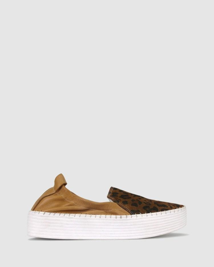 Airflex Sandra Flatform Loafers Casual Shoes Tan