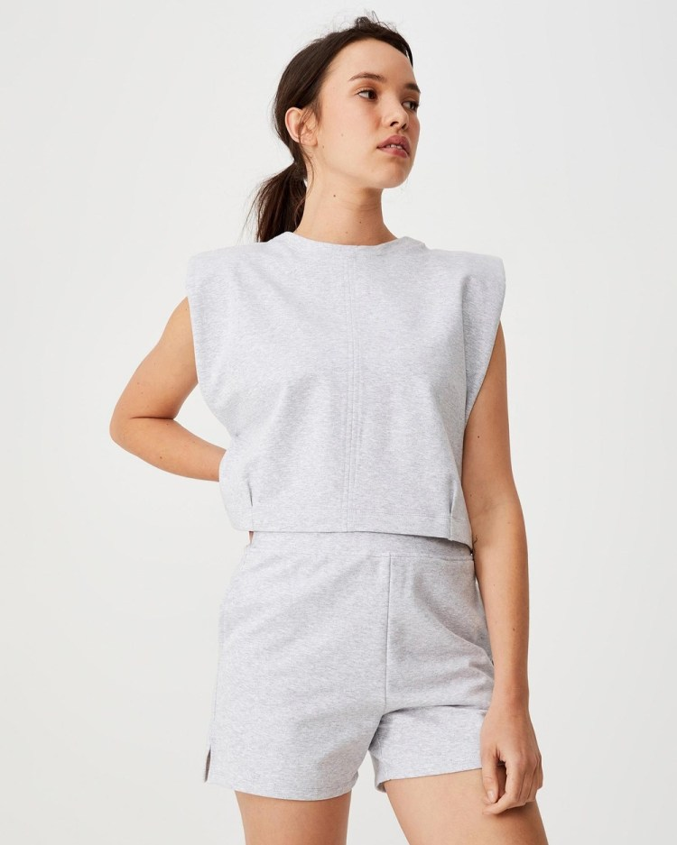 Cotton On Body Active Post Sweat Shorts Grey Marle