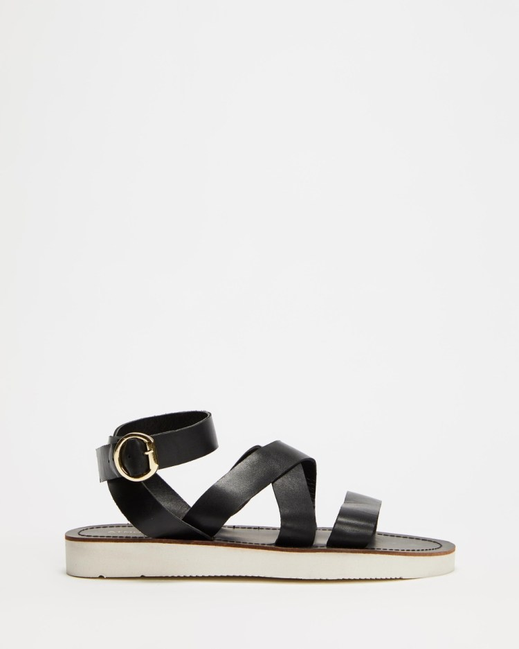 Atmos&Here Delphine Leather Sandals Black Leather