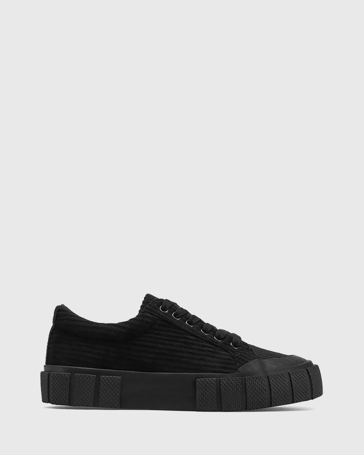 Wittner Xylon Corduroy Lace Up Sneakers Lifestyle Black