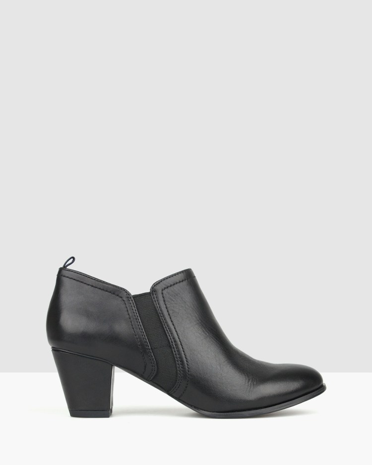 Airflex Carly Heeled Ankle Booties Boots Black