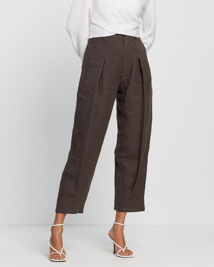 AERE Pleat Front Pants Charcoal