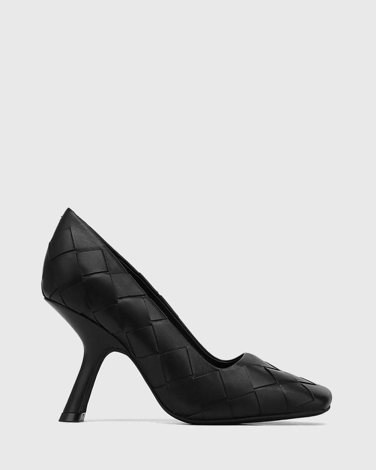 Wittner Xavi Woven Leather Slanted Stiletto Heel Pumps All Black