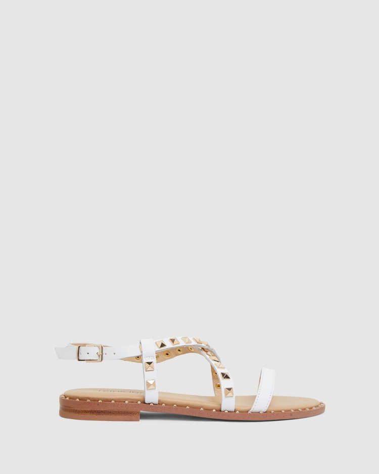 Pink Inc Berry Flats White