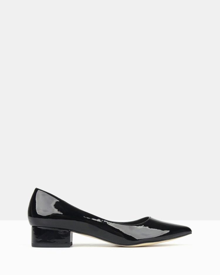 Betts Impulse 2 Pointed Toe Block Heel Pumps All Black Patent