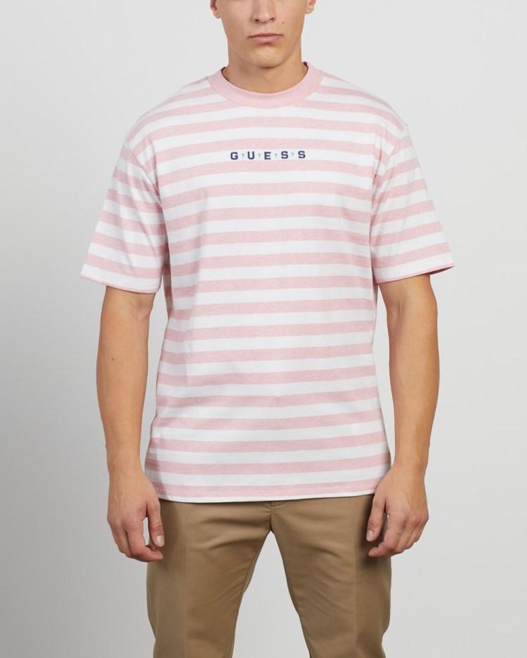 Guess Originals Logo Stripe SS Tee T-Shirts & Singlets Scared Pink Heather Stripe
