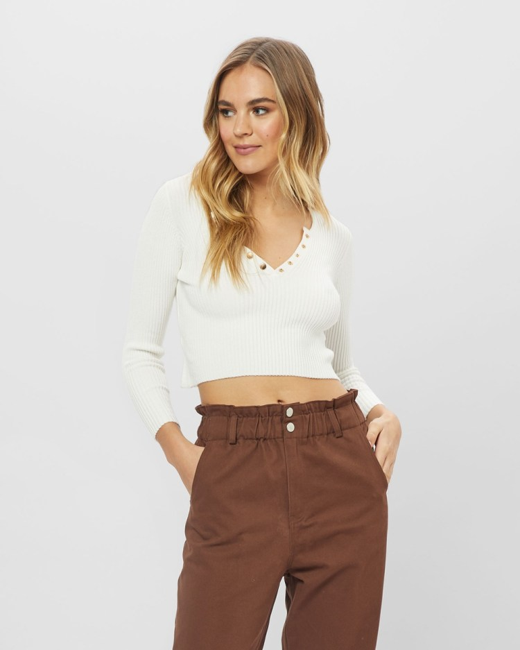 ids Bettina Top Jumpers & Cardigans White