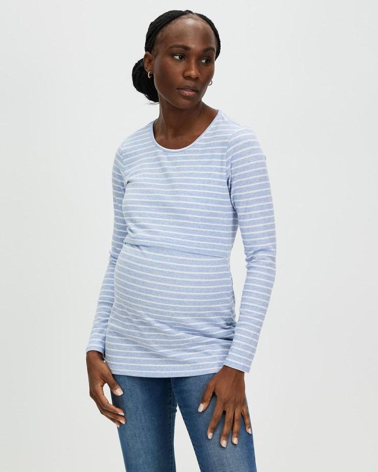 Angel Maternity & Nursing Long Sleeve Cotton Top Tops Blue