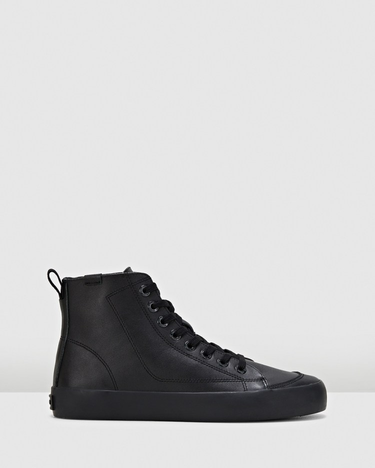 Volley Deuce Leather High Top Sneakers Black Leather
