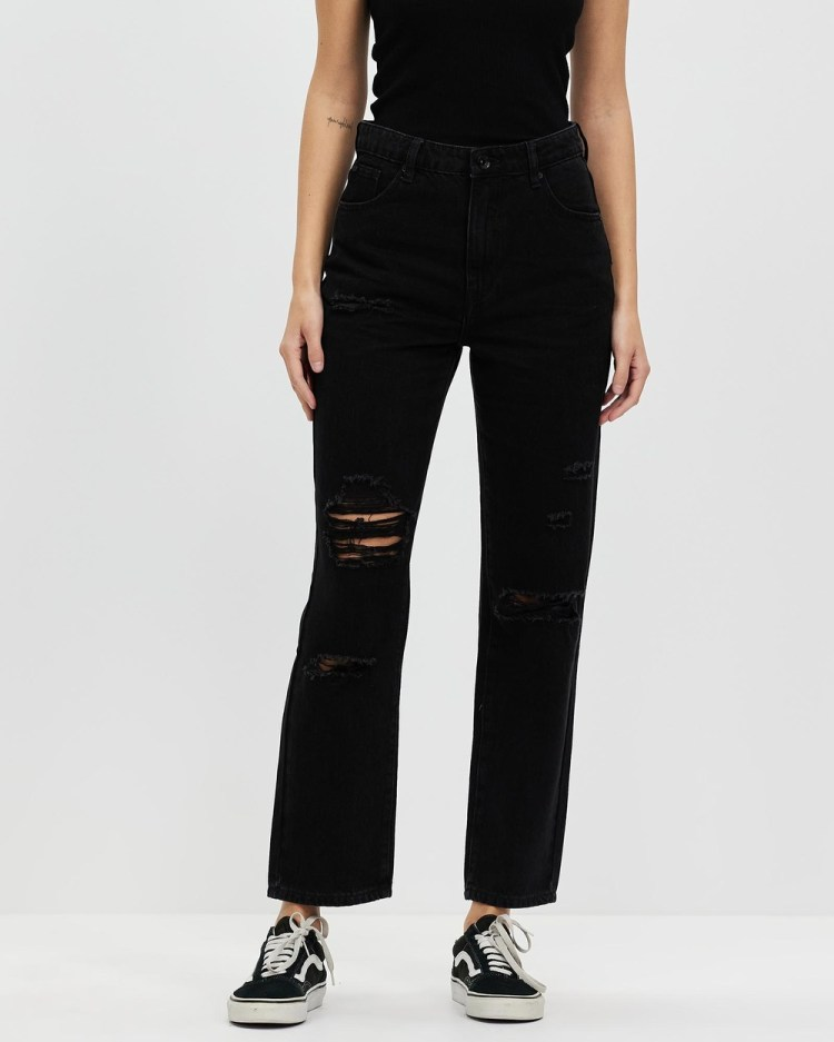 Silent Theory Cali Straight Leg Jeans Crop Destroyed Black