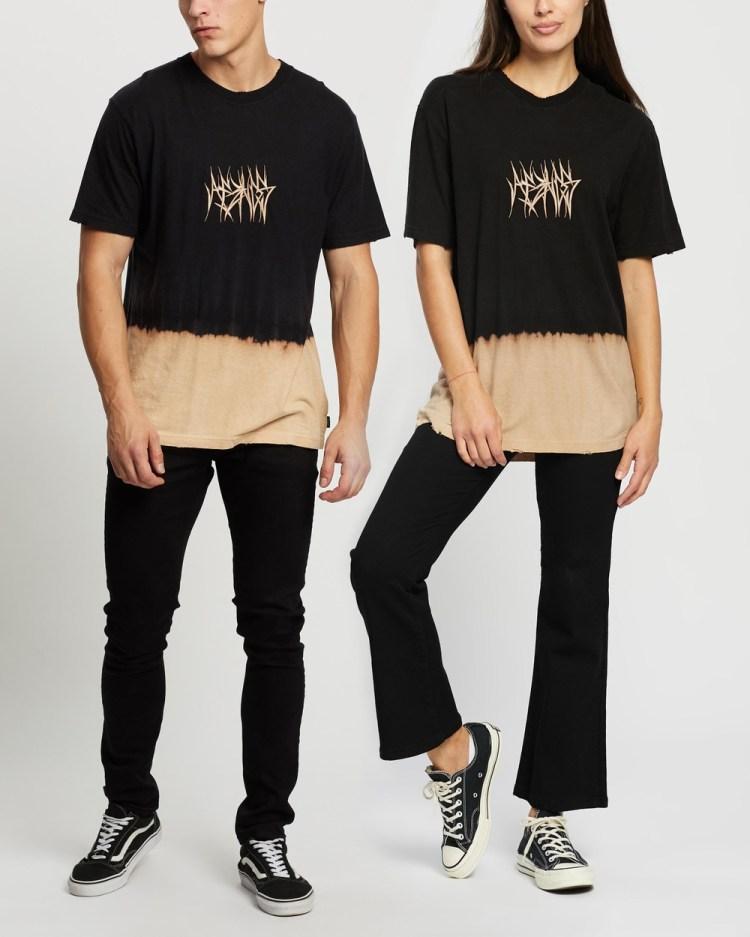 Afends Isiah Hemp Retro Fit Tee Unisex T-Shirts & Singlets Black Bleach Dip Dye
