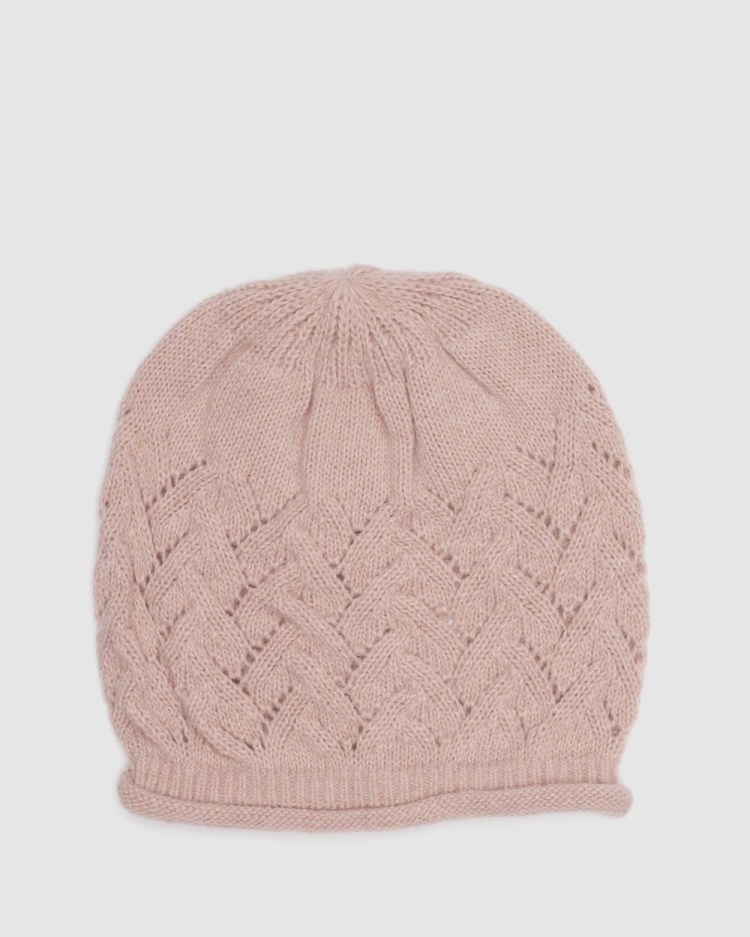 Kate & Confusion Chevron Knit Beanie Hats Pink