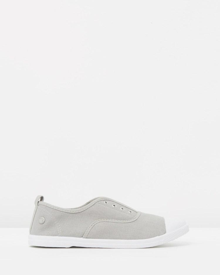 Walnut Melbourne Euro Canvas Plimsole Sneakers Slip-On Grey