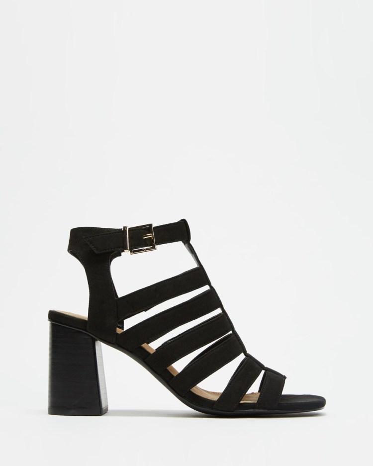 SPURR Beryl Heel Heels Black Microsuede