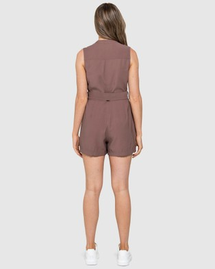 Forever New - Elena Utility Belted Playsuit - Jumpsuits & Playsuits (Dark Dove) Elena Utility Belted Playsuit