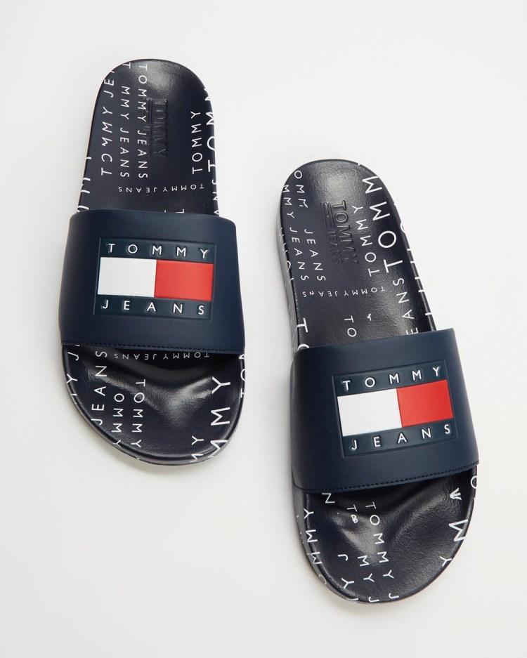 Tommy Hilfiger Heritage Jeans Pool Slides Sandals Navy