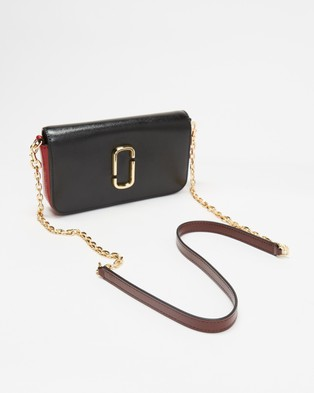 The Marc Jacobs - Snapshot Wallet with Cross Body Chain - Bags (Black & Red) Snapshot Wallet with Cross-Body Chain