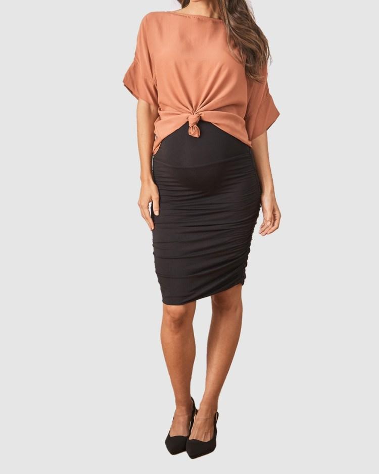 Angel Maternity Bodycon Side Ruching Skirt Pencil skirts Black