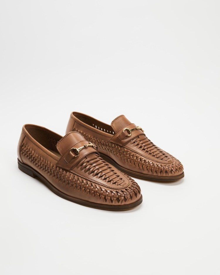 Staple Superior Harry Woven Leather Loafers Casual Shoes Tan