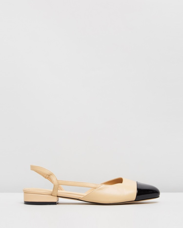 Atmos&Here Monaco Leather Flats Ballet Beige & Black Patent Leather