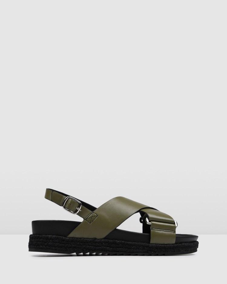 Jo Mercer Miles Flat Espadrille Sandals OLIVE GREEN LEATHER