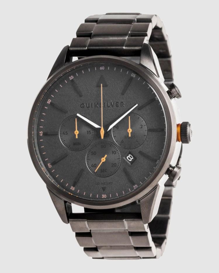 Quiksilver Mens The Timebox Chronograph 48mm Stainless Steel Watch Watches GUN/ORANGE/GUN