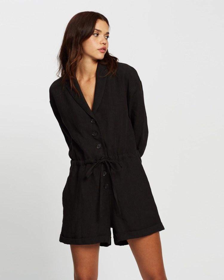 AERE Linen LS Playsuit Jumpsuits & Playsuits Black