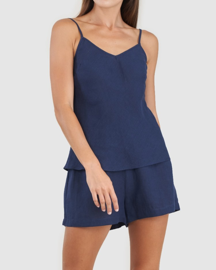 Amelius Grace Linen Cami and Short Set All gift sets Navy