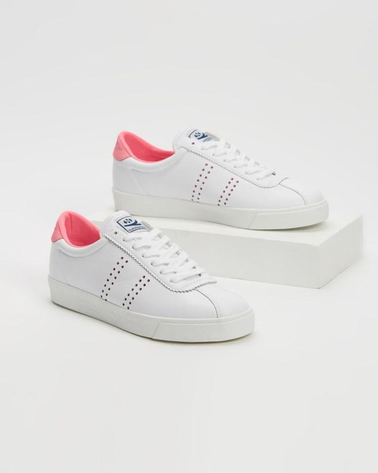 Superga 2843 Club S Chromapeek Womens Sneakers White & Pink Candy