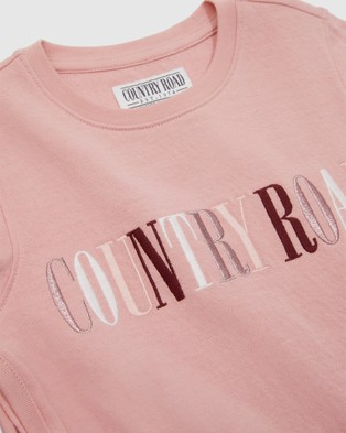 Country Road Double Faced Organically Grown Cotton Heritage T shirt T-Shirts & Singlets pink T-shirt