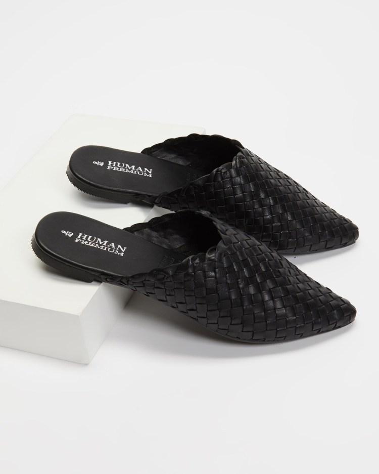 Human Premium Mojo Woven Leather Slides Flats Black Leather