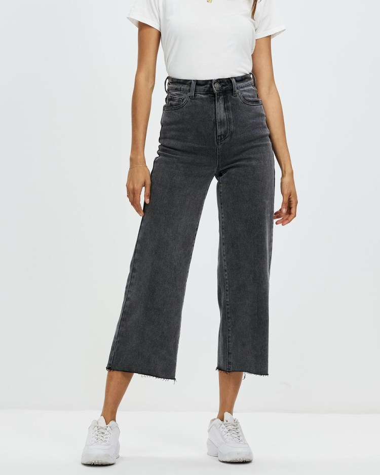 All About Eve Charlie High Rise Wide Leg Jeans High-Waisted Washed Black