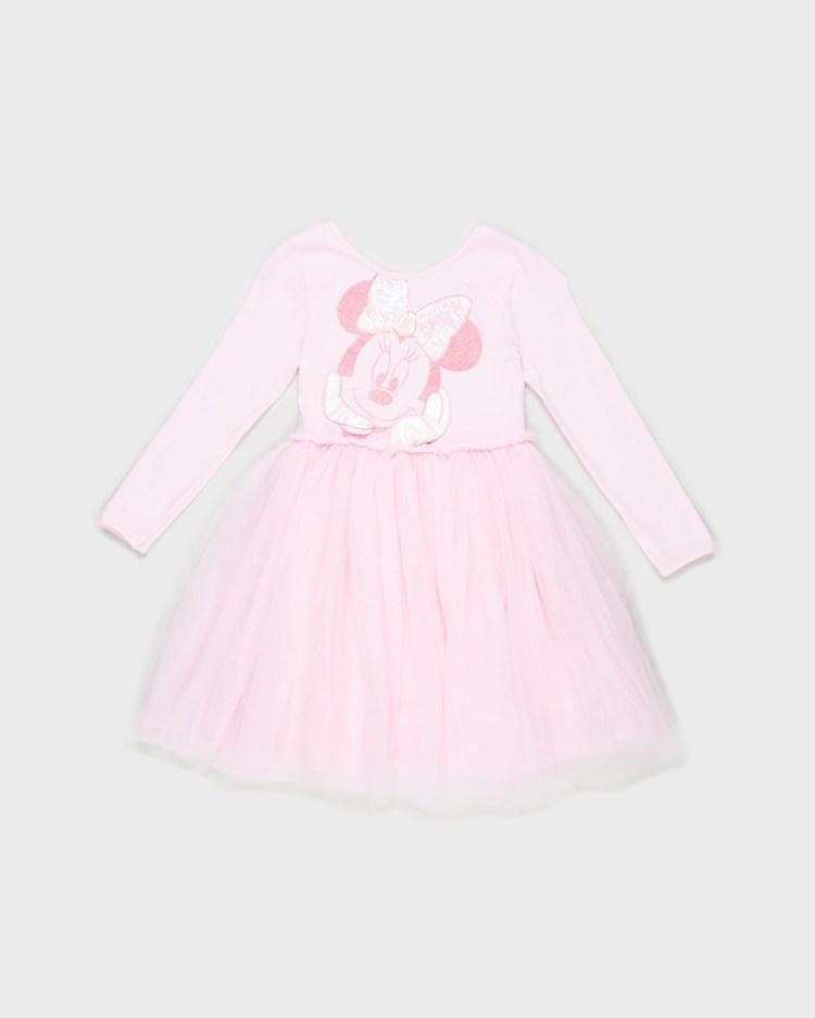 Cotton On Kids License Disney Ivy Long Sleeve Dress Babies Dresses Cali Pink & Minnie Mouse Babies-Kids