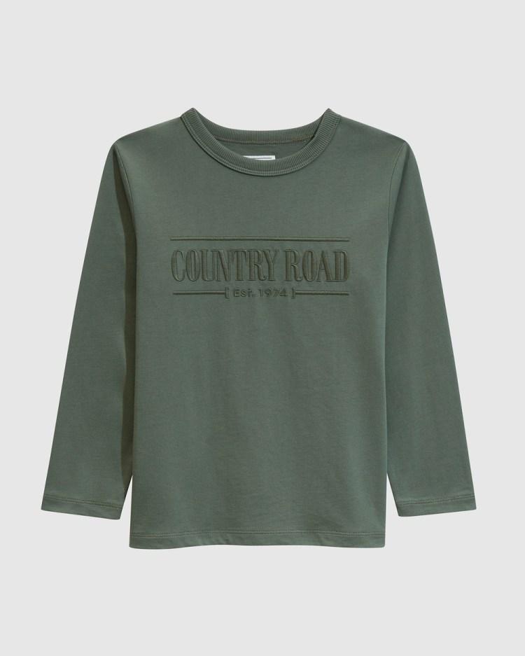 Country Road Verified Australian Cotton Long Sleeve Heritage T shirt T-Shirts & Singlets green T-shirt