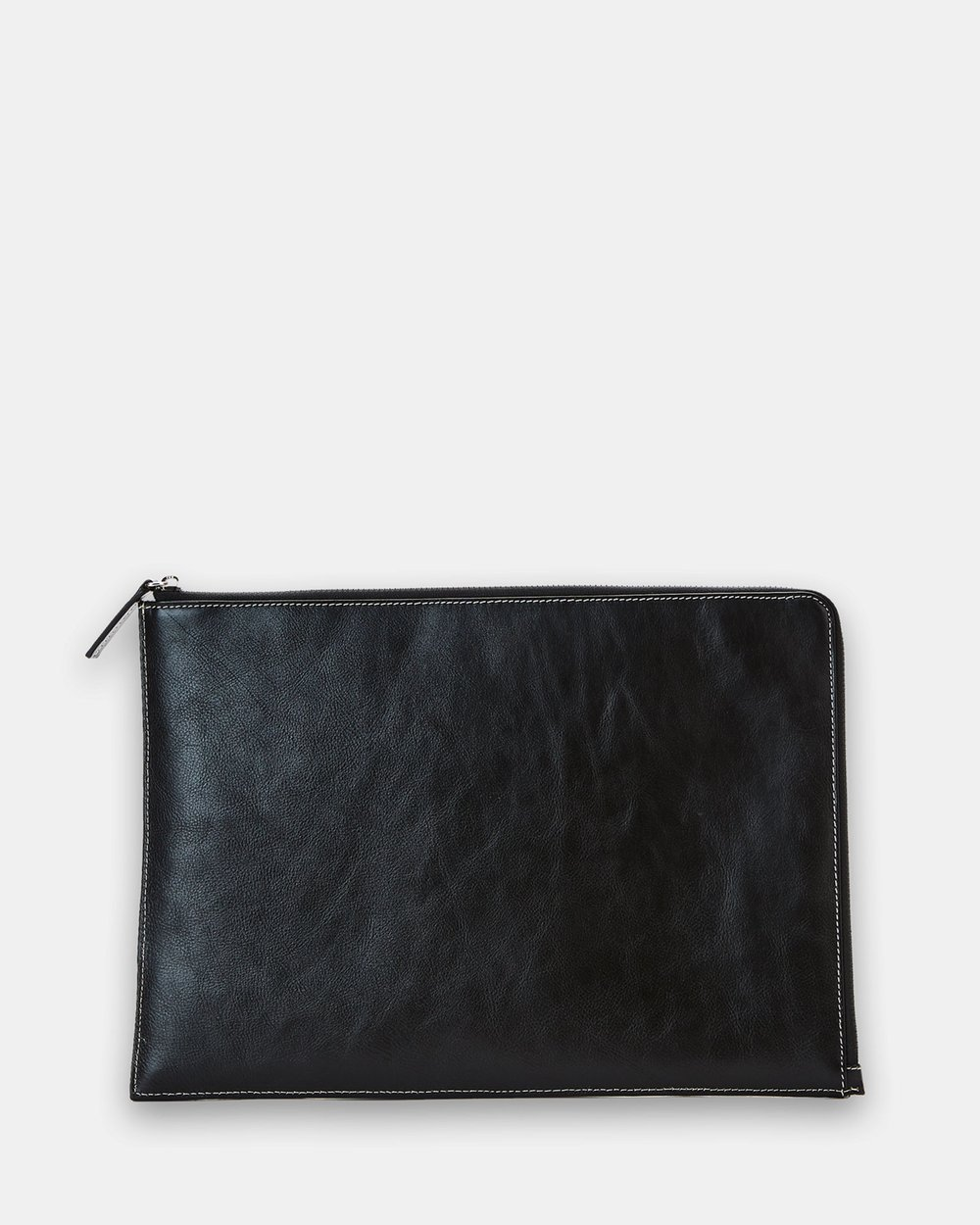 Slim Black Leather Laptop Sleeve