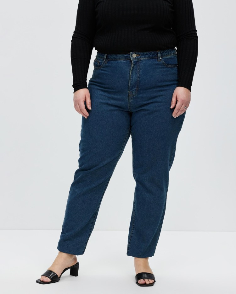 Missguided Curve Plus Ella Wash Riot Mom Jeans High-Waisted Blue