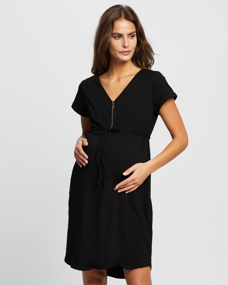 Angel Maternity & Nursing Zipper Dress Dresses Black