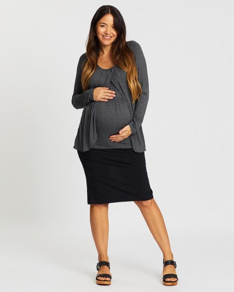 Angel Maternity Nursing Petal Top & Midi Skirt Outfit Skirts Grey Grey Stripes