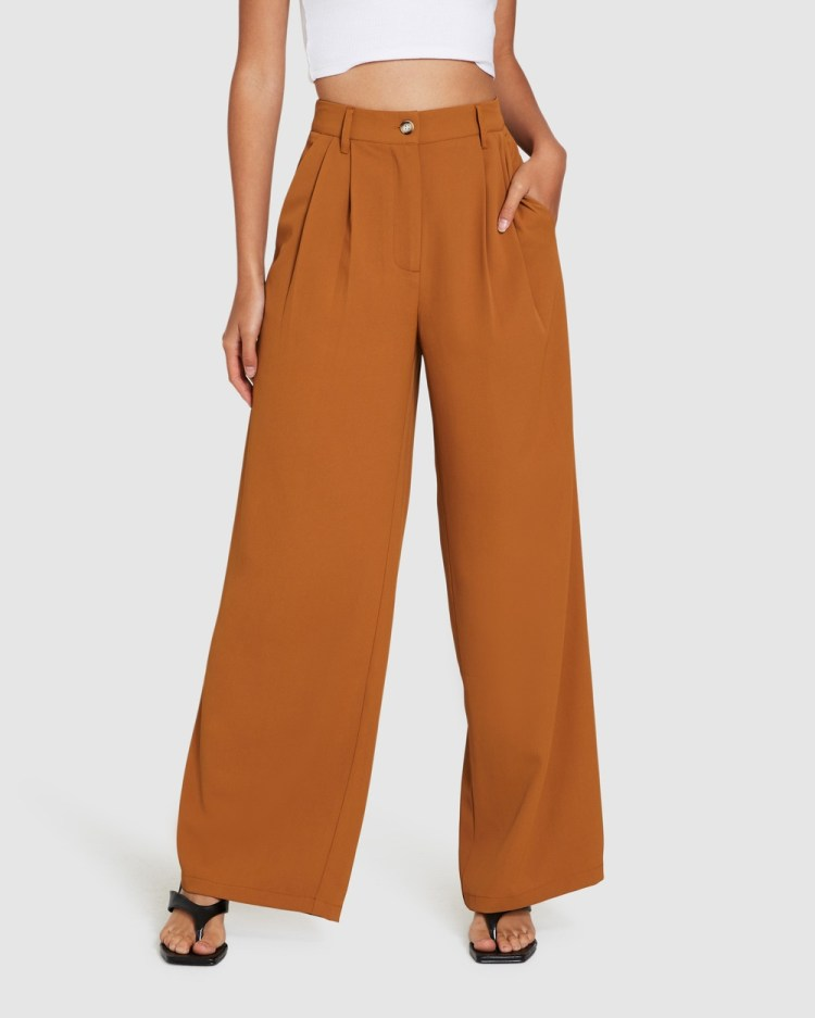 Alice In The Eve Quinn Wide Leg Pleat Pants TAN