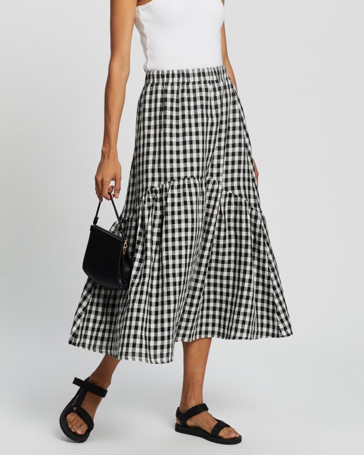 AERE Tiered Midi Skirt Skirts Black & White Check