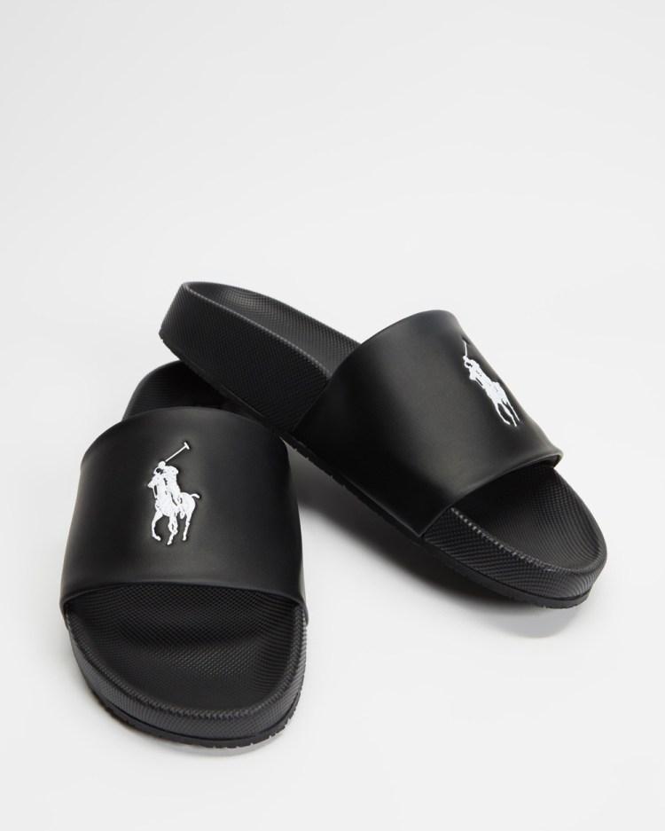 Polo Ralph Lauren Cayson Player Slides Black & White