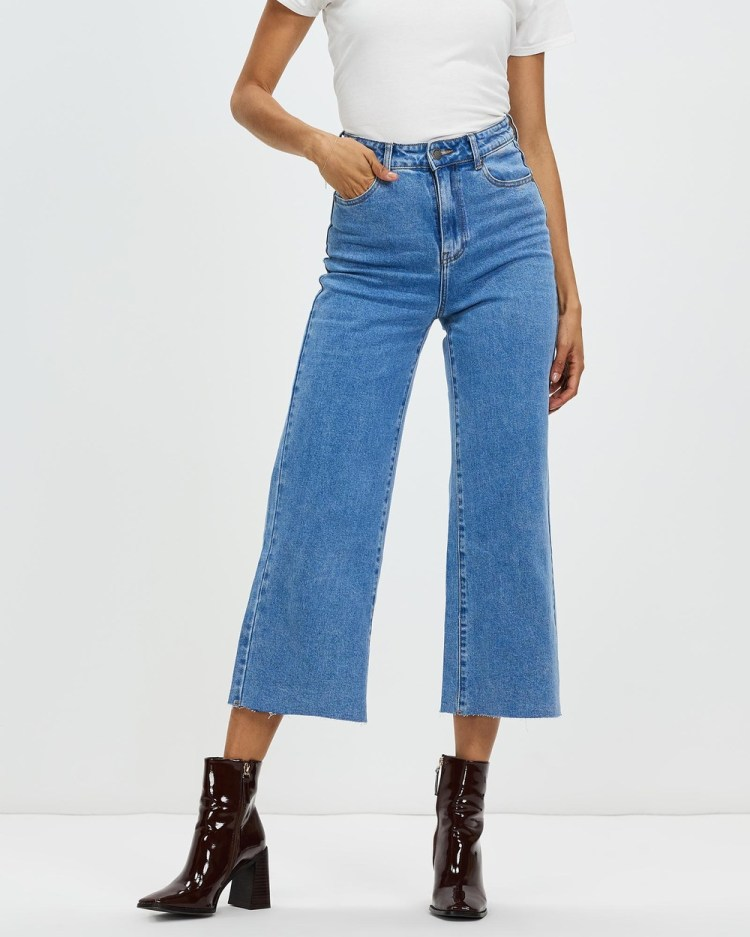 All About Eve Charlie High Rise Wide Leg Jeans High-Waisted Blue