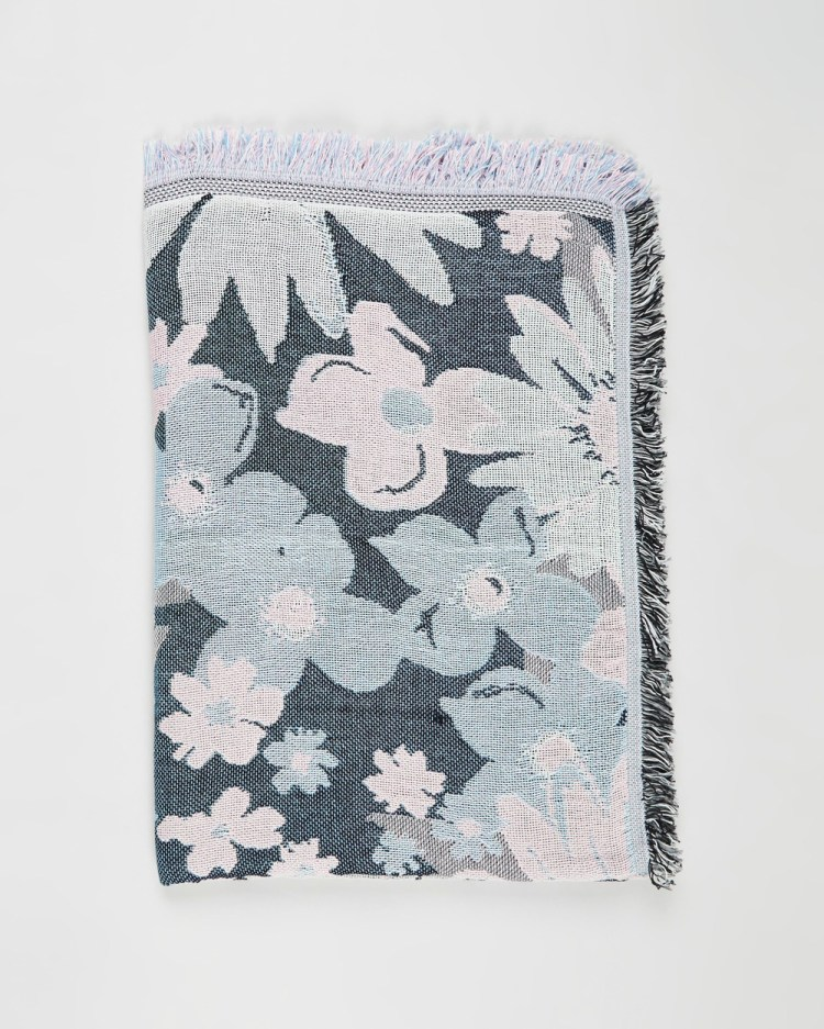 Typo Woven Throw Home Blue Floral