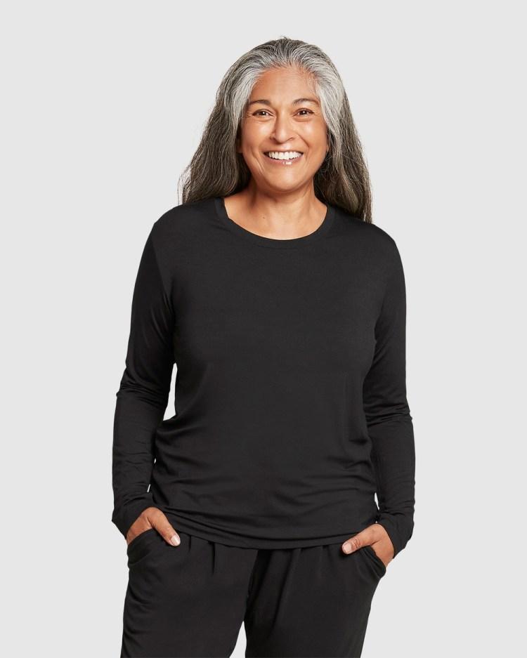 Boody Organic Bamboo Eco Wear Long Sleeve T Shirt T-Shirts Black T-Shirt