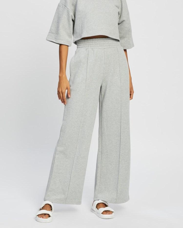 AERE Organic Cotton Wide Leg Sweat Pants Sweatpants Grey Marle