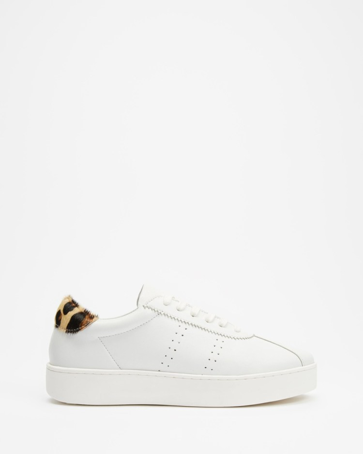 Atmos&Here Kiely Leather Sneakers White & Leopard