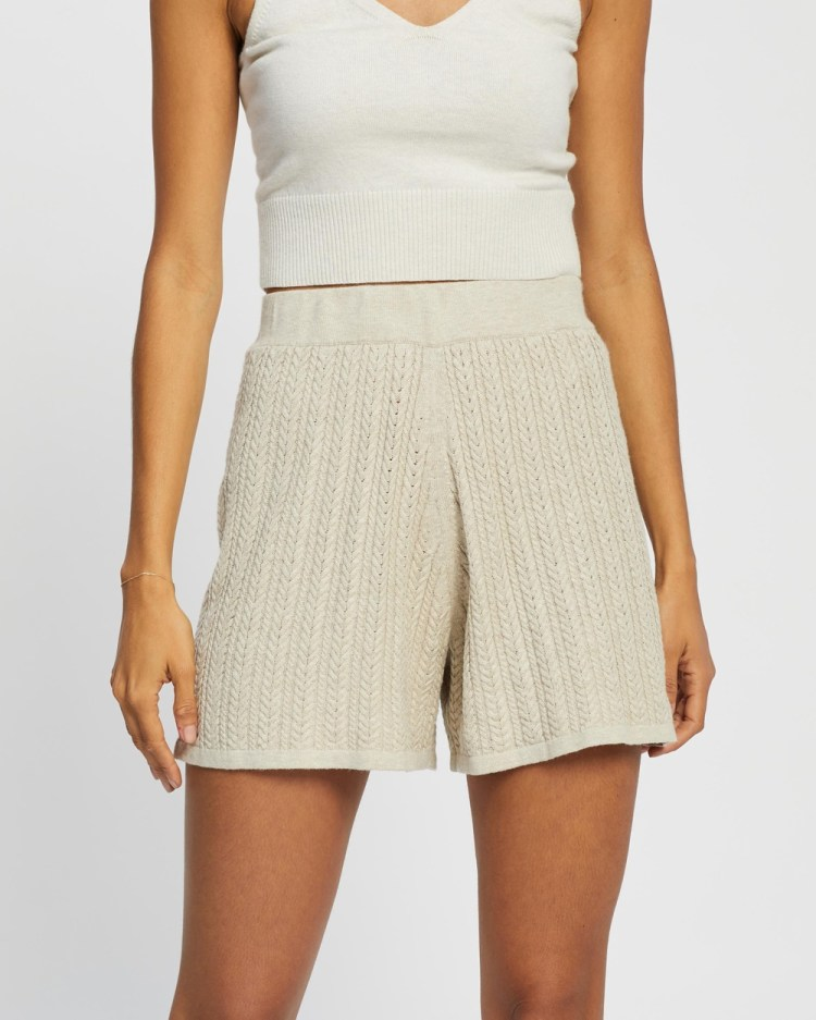 AERE Cable Knit Shorts High-Waisted Neutral