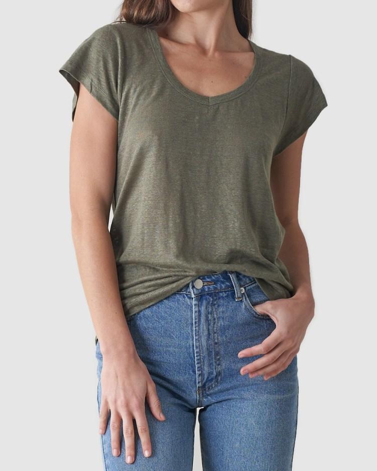 Amelius Newport Linen T Shirt T-Shirts & Singlets Khaki T-Shirt