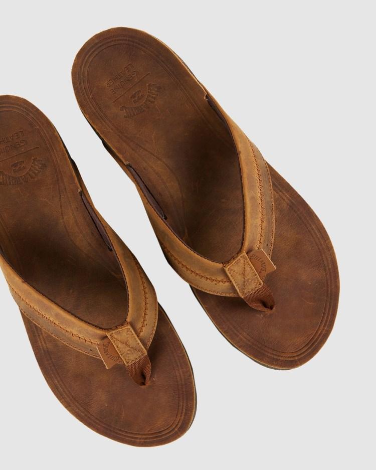 Billabong Brunswick Leather Thongs Sandals BROWN